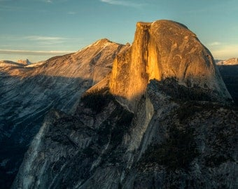 Half Dome at Sunset, Yosemite National Park, Landscape Photography, Glacier Point, Last Light, Sky, Mountain, Cliff, Art Print, Home Decor