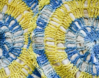 Vintage Crocheted Hot Pads, Blue and Yellow pot holders