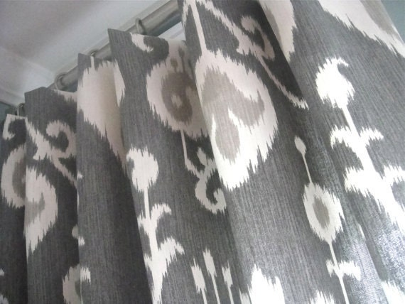 Reserve listing for  MARY - A Pair Of 75x98  lined  /Rod Pocket Draperies In Ikat Pewter