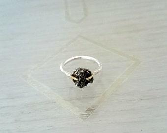 Raw Meteorite Silver Ring
