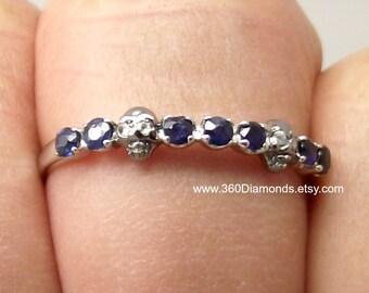 Skull ring, Aztec treasure skull ring,  blue sapphire skull eternity ring, silver skull ring, skull engagement ring,  stackable ring