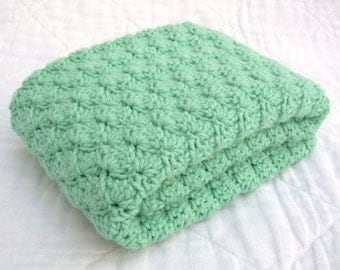Crochet Baby Blanket, Baby Blanket, Crochet Green Baby Blanket, light sage green, mint, crib size