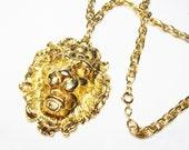 Vintage Statement Necklace - Lion Head Runway Necklace