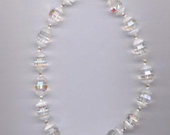 Gorgeous vintage Vendome necklace - AB crystals with winter white glass bead caps