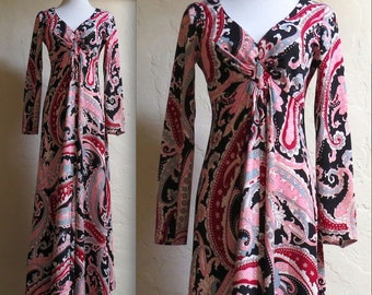 Vintage Early 70s Groovy Paisley Maxi Dress