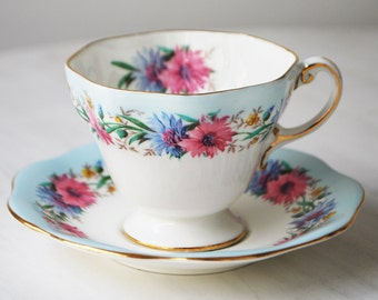 Foley Cornflower Teacup and Saucer, Vintage Tea Cup