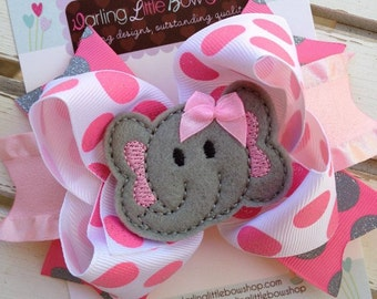 Elephant Bow - Tons of Fun - pink and gray with sparkle polka dots and elephant center by Darling Little Bow Shop