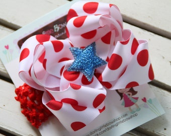 Double Bow -- Red Polka Dot bow with glitter star center -- July 4th and Summer - red, white and blue - optional headband