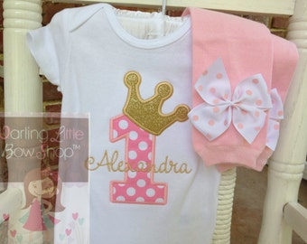 Baby Girl First Birthday Outfit -- Royal Princess -- bodysuit and leg warmers in pink and gold