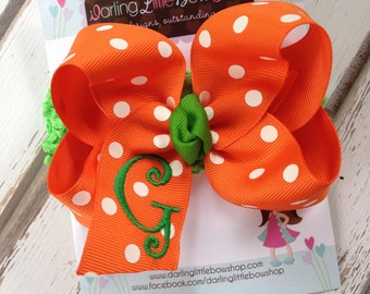 Fall Pumpkin Bow and Headband -- large Orange and white polka dot bow with green inital and headband -- choose initial -- for baby girls