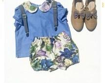 Size 5 SAMPLE SALE Girls Shirt The Flora Peter Pan Collar Girls Blouse Vintage Fabric Blouse Girls Vintage Shirt Sale 5 girls shirt blue kid