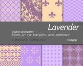 "Digital Paper + Lavender + Scrapbook Quality Paper Pack  (8.5x11""- 300 dpi)   8 sheet pack paper  029 + Instant Download +"