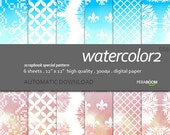 """Modern Digital Paper + watercolor - 056  + Scrapbook Quality Paper Pack  (12 x 12""""- 300 dpi)   6 sheet pack paper + Instant Download + Ombre"""