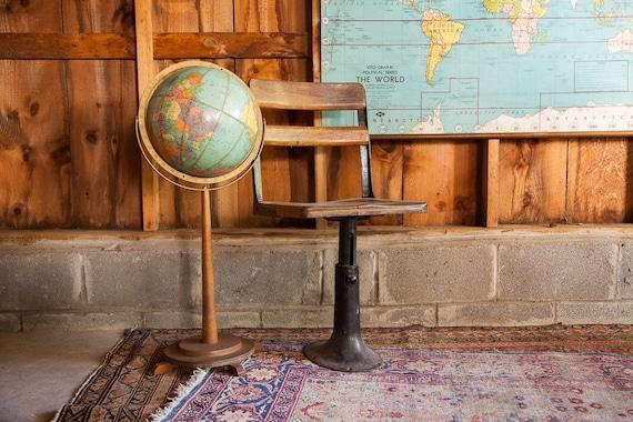 Antique Wooden School Chair Cast Iron Base