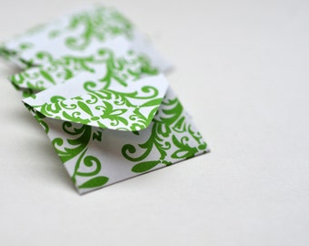 Tiny Love Notes - Green Damask // Set of 10 // Love Notes // Embellishment // Journaling // Scrapbooking // Blank Card // Decoration