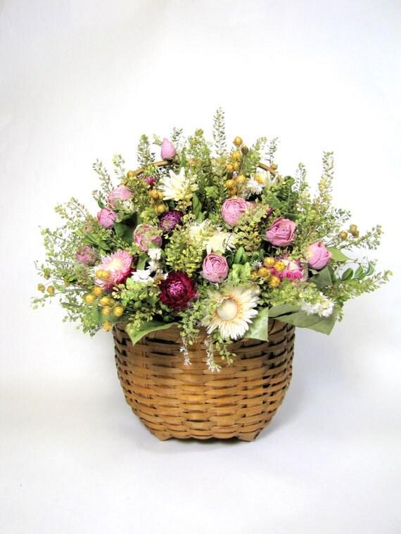 Secado de arreglos florales flores secas cesta de cabeza de - Arreglos florales con flores secas ...