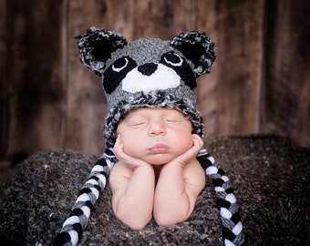 Baby Boy or Baby Girl Crochet Hat Raccoon Photography Prop Ready Item