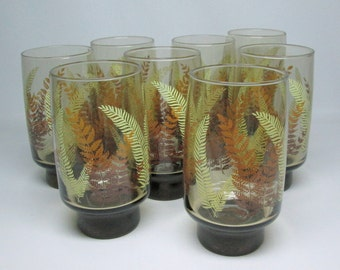 set of 8 glasses . LIBBEY smoke color glass with ferns , 1970's