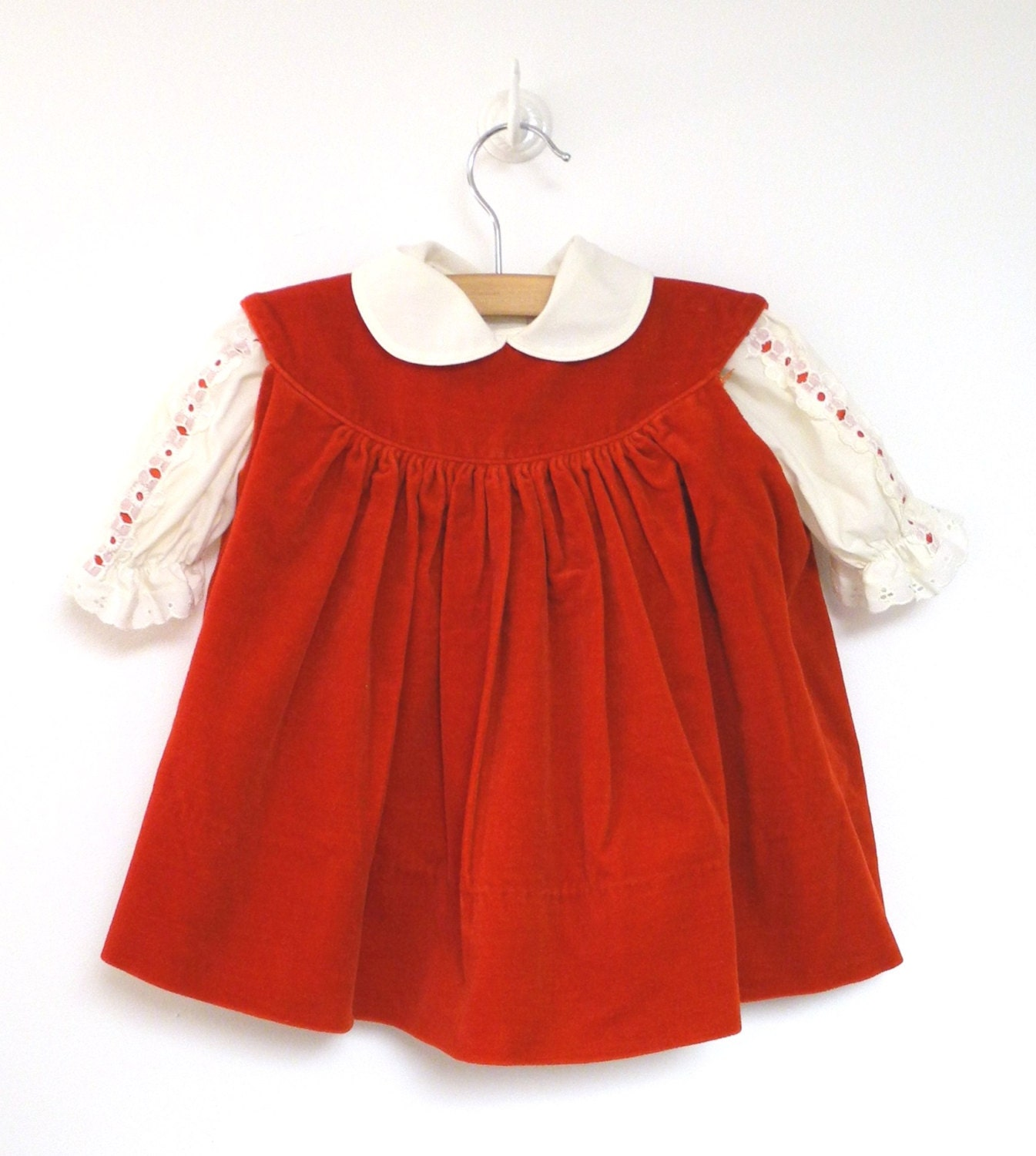 vintage baby clothes 1970's red and cream baby girl