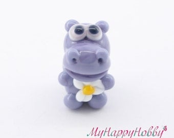 Lampwork big hole beads fits bracelet-handmade glass large hole beads-Glass lampwork hippopotamus (hippo) bead