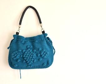 Cyber Monday Sale-Handmade Petrol Blue  Knit Bag, Celebrity Style,Crochet winter  bag- shoulder bag- crochet bag-