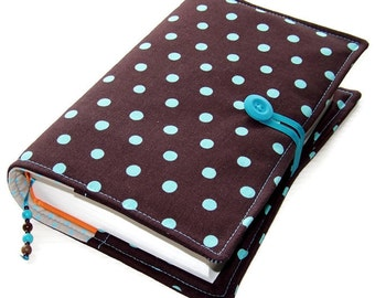 Large Bible Cover, Fabric Book Cover, Turquoise Polka Dots on Brown, UK Seller