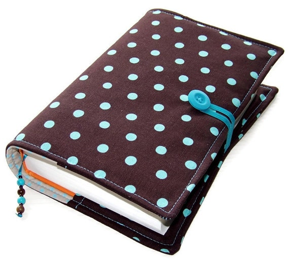 Large Fabric Book Cover : Large bible cover fabric book turquoise polka dots on