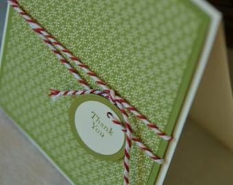 Baker's Twine Thank you - Handmade Greeting Card (Blank Inside)