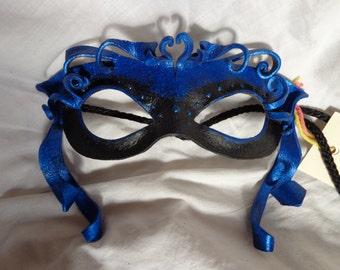 Leather Mask Mardi Gras Ribbon Curls
