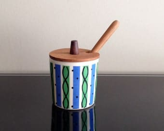 Soholm Denmark Honey Jar - Teak Lid and Wand - Danish Modern