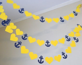 Navy and Yellow Bridal shower decor / 10ft Anchors and Heart Banner  / Nautical wedding garland / Nautical Bridal Shower your color choice