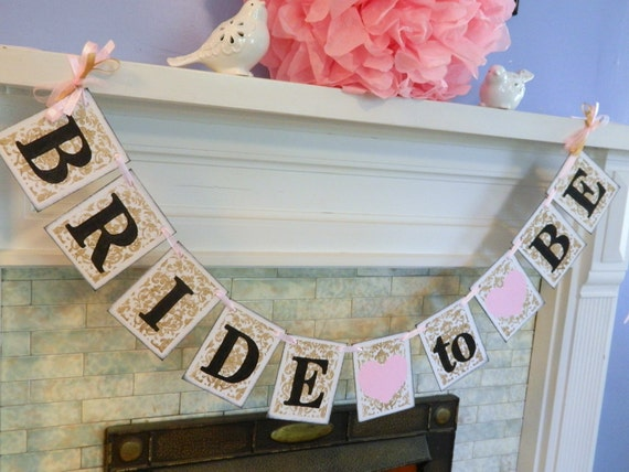 Bride To Be Banner / Gold And Blush Pink Damask Bridal Shower