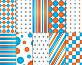 Blue and Orange Scrapbook Paper, Printable Blue and Orange paper, printable Blue and Orange scrapbook paper, Blue and Orange paper, nemo