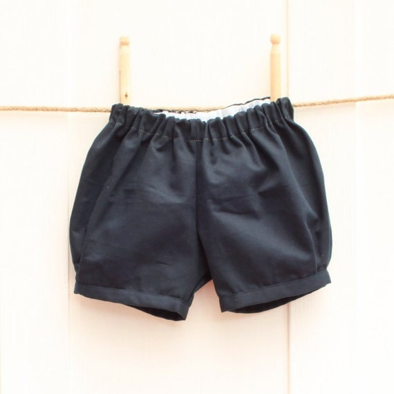Baby boy shorts, retro style ring bearer bloomer shorts for boys & toddler boys in navy blue, hipster style baby boy wedding outfit