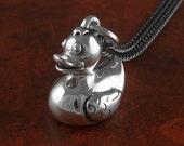 "Rubber Duck Necklace Antique Silver Rubber Duck Pendant on 24"" Gunmetal Chain"