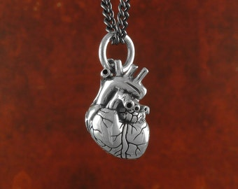 "Small Anatomical Heart Necklace - Sterling Silver Small Anatomical Heart Pendant on 18"" Gunmetal Chain"