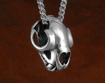 "Lion Necklace Lion Skull Antique Silver Lion Skull Pendant on 18"" Antique Silver Chain"