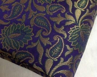 Half yard of  Purple / indigo Indian silk brocade fabric in a floral pattern