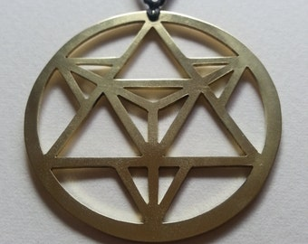 Star Tetrahedron Pendant - Brass Symbols range - Geometry - Handcrafted