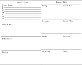 Grocery list / shopping list upgrade / add-on to be purchased with a Retro from Scratch recycled notebook
