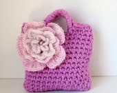 Little Girls Little Purse in heather shade with light pink statement flower