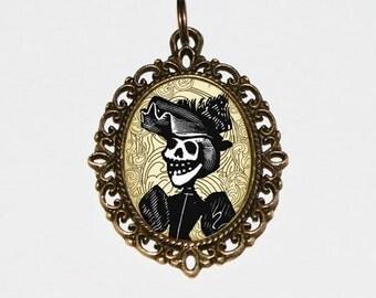 Skeleton Woman Necklace, Gothic Skull Lady, Horror Jewelry, Skulls, Oval Pendant