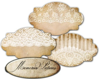 Tags, lace  printable gift tags, labels  // vintage shabby chick  // tattered  // jpg, png  digital Collage Sheet 185
