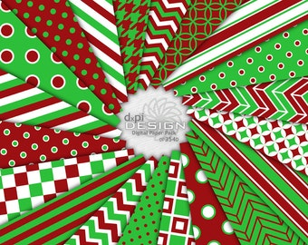 Bright Christmas Scrapbook Paper & Printable Backgrounds - Kelly Green and Red Digital Paper Holiday Images - Instant Download (DP354D)