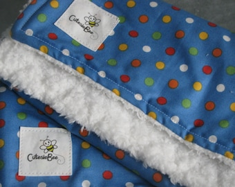 Blue with Mulit-Color Polka Dots Burp Cloth Set (2)