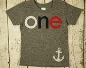 Nautical Theme Birthday Shirt Sailboat Birthday Shirt with anchor first birthday navy white red