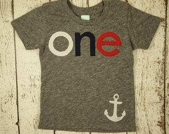 Nautical Theme Birthday Shirt Sailboat Birthday Shirt with anchor first birthday navy white red