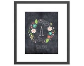 CUSTOM chalkboard floral wreath name print for newborn nursery. Perfect baby shower gift for new moms!