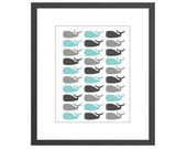 Colorful whales nursery art print for boys room. Perfect baby shower gift!