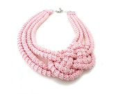 Pink Rope Knot Crochet Collar Statement Necklace